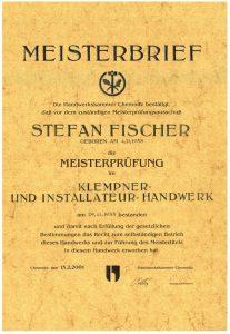 Meisterbrief im Klempner- und Installateur - Handwerk